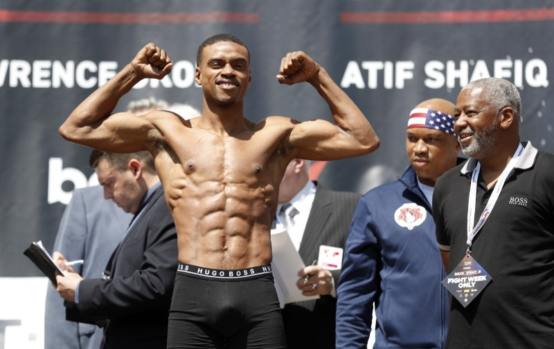 Errol Spence Jr during the weigh-in
